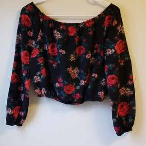 Black and Red Rose Crop Top